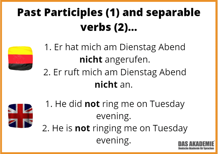 German Negation with past participles and separable verbs