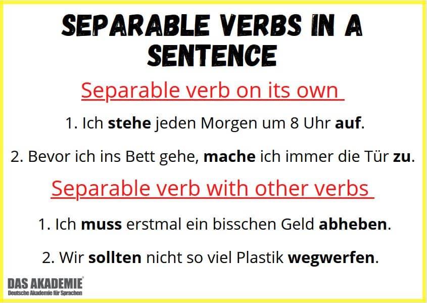 Separable verbs in a sentence