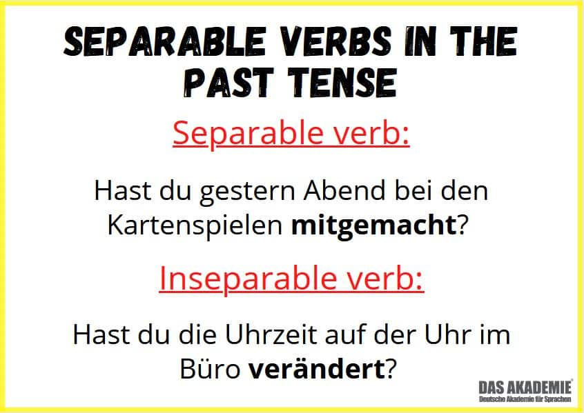 Separable verbs in the past