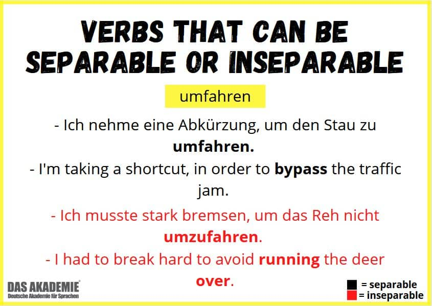 Verbs that can be separable or inseparable
